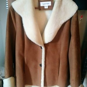 Calvin Klein Shearling warm pea coat size large